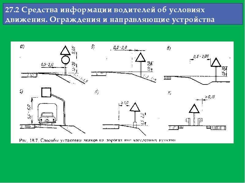 27. 2 Средства информации водителей об условиях движения. Ограждения и направляющие устройства