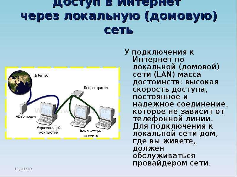 Доступ в Интернет через локальную (домовую) сеть У подключения к Интернет по локальной (домовой) сет