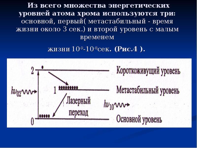 Из всего множества энергетических уровней атома хрома используются три: основной, первый( метастабил
