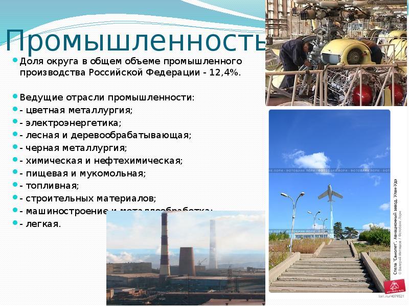 Промышленность Доля округа в общем объеме промышленного производства Российской Федерации - 12,4%. В