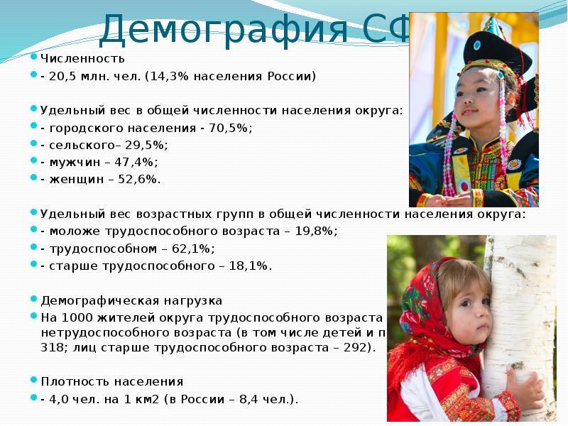 Демография СФО. Численность - 20,5 млн. чел. (14,3% населения России) Удельный вес в общей численнос