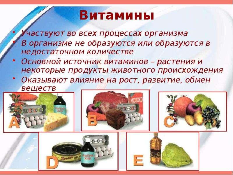 Витамины Участвуют во всех процессах организма В организме не образуются или образуются в недостаточ