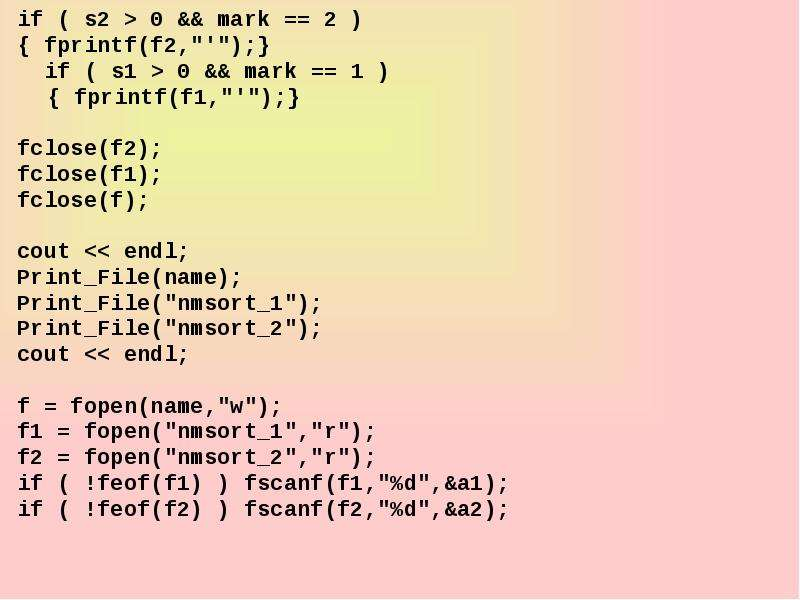 "if ( s2  0 && mark  2 ) if ( s2  0 && mark  2 )  fprintf(f2,""""); if ( s1"