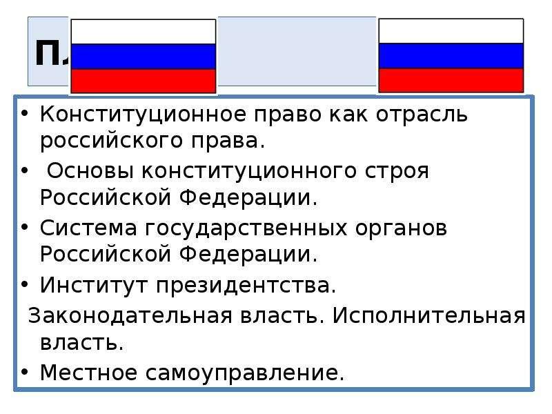 ПЛАН Конституционное право как отрасль российского права. Основы конституционного строя Российской Ф