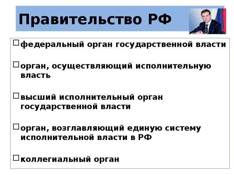 Правительство РФ федеральный орган государственной власти орган, осуществляющий исполнительную власт