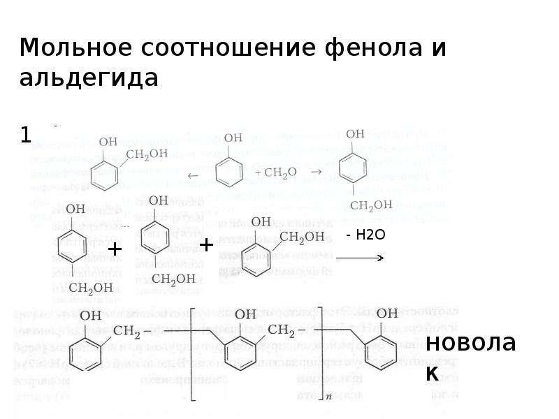 Мольное соотношение фенола и альдегида 1. фенол : альдегид = 1:1