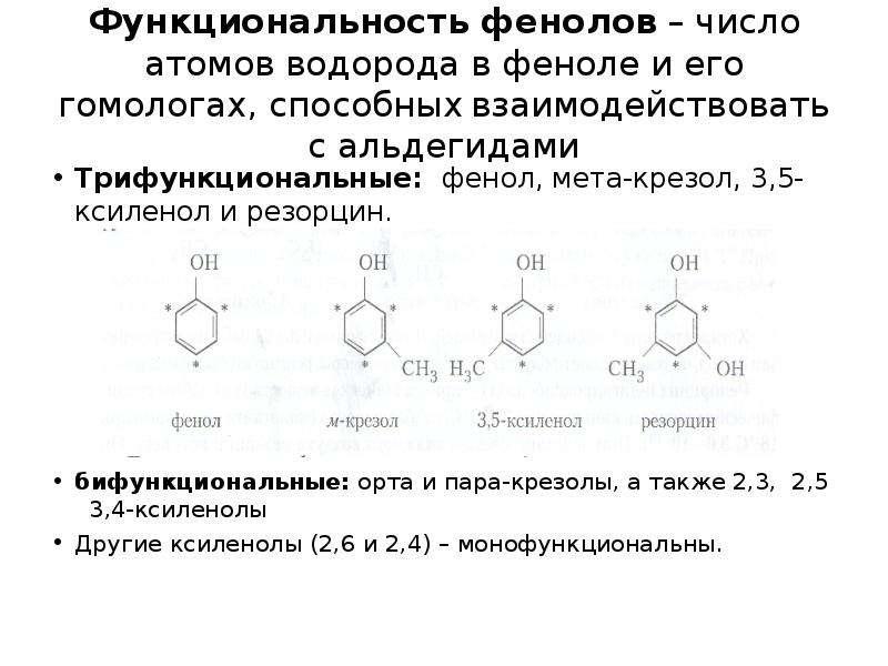 Функциональность фенолов – число атомов водорода в феноле и его гомологах, способных взаимодействова