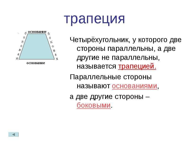 трапеция Четырёхугольник, у которого две стороны параллельны, а две другие не параллельны, называетс