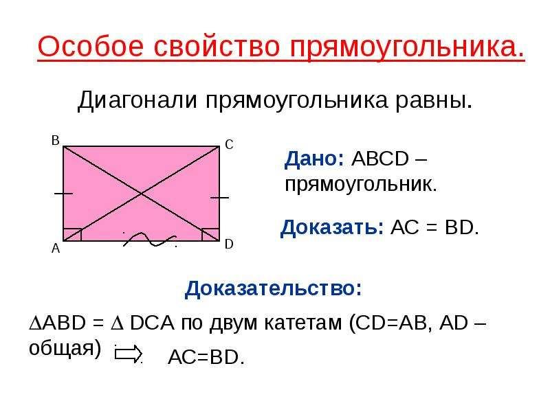 Особое свойство прямоугольника. Диагонали прямоугольника равны.
