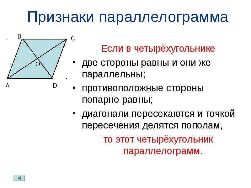 Признаки параллелограмма Если в четырёхугольнике две стороны равны и они же параллельны; противополо