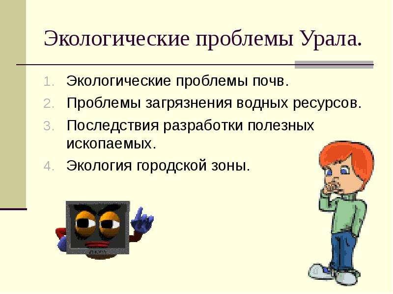 Экологические проблемы Урала. Экологические проблемы почв. Проблемы загрязнения водных ресурсов. Пос