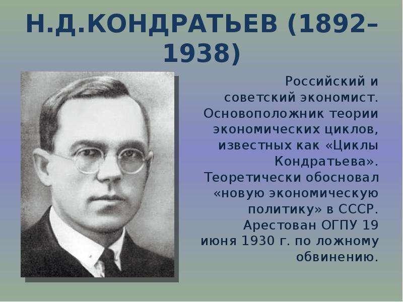 Н. Д. Кондратьев (1892–1938) Российский и советский экономист. Основоположник теории экономических ц