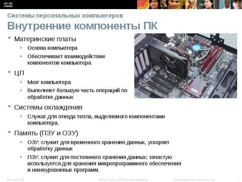 Системы персональных компьютеров Внутренние компоненты ПК Материнские платы Основа компьютера Обеспе