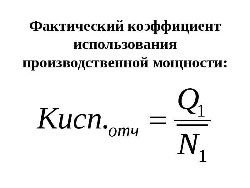 Фактический коэффициент использования производственной мощности: