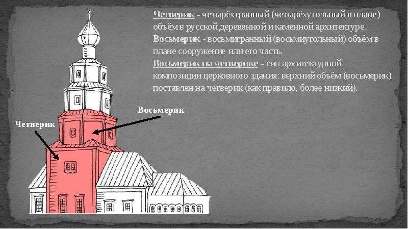 Четверик - четырёхгранный (четырёхугольный в плане) объём в русской деревянной и каменной архитектур