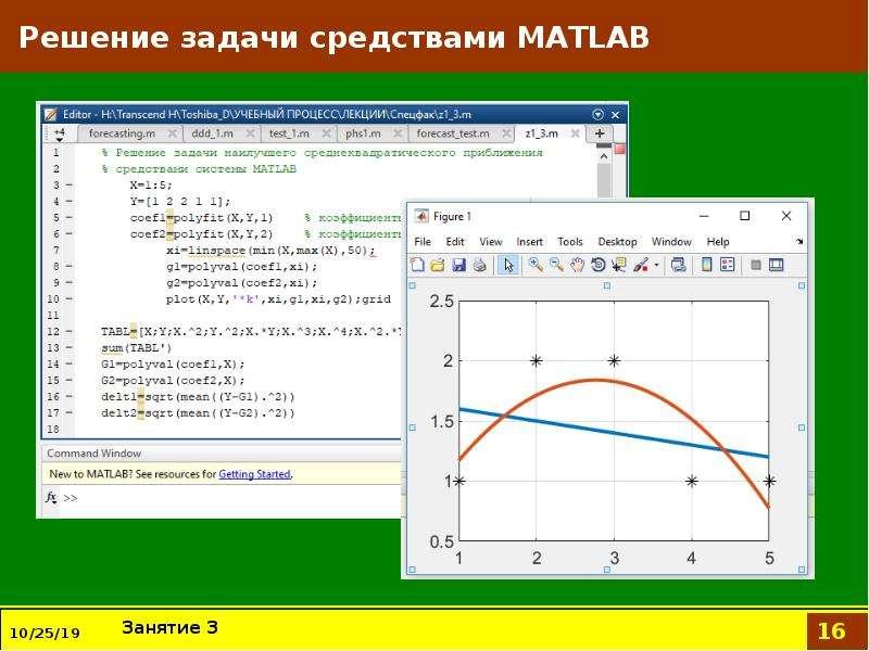 Решение задачи средствами MATLAB