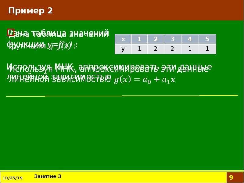 Пример 2 Дана таблица значений функции y=f(x) : Используя МНК, аппроксимировать эти данные линейной