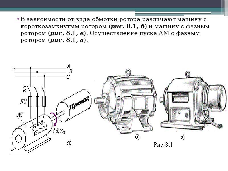 В зависимости от вида обмотки ротора различают машину с короткозамкнутым ротором (рис. 8. 1, б) и ма