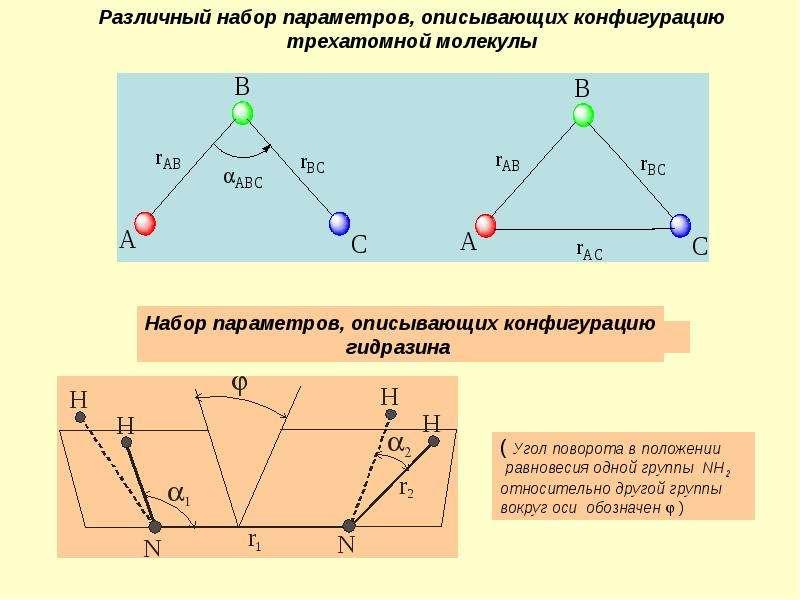 Презентация Различный набор параметров, описывающих конфигурацию трехатомной молекулы