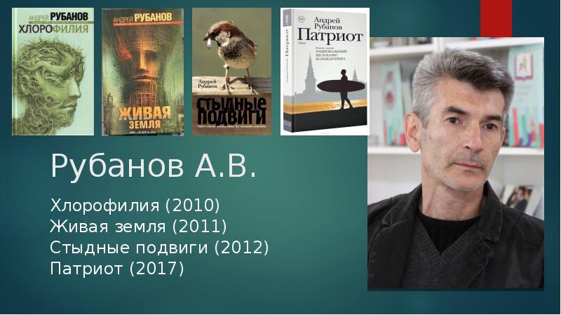 Рубанов А. В. Хлорофилия (2010) Живая земля (2011) Стыдные подвиги (2012) Патриот (2017)