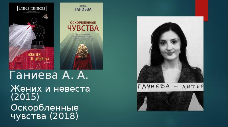 Ганиева А. А. Жених и невеста (2015) Оскорбленные чувства (2018)