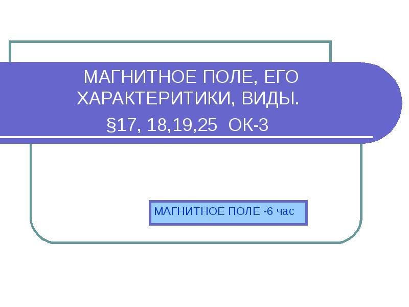 Презентация Магнитное поле, его характеритики, виды