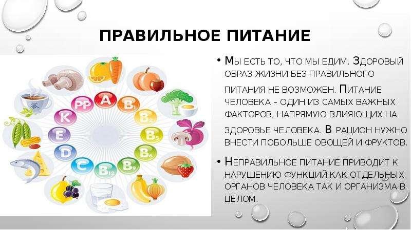 Правильное питание Мы есть то, что мы едим. Здоровый образ жизни без правильного питания не возможен