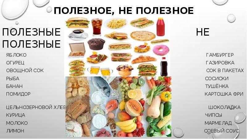 Полезное, не полезное Полезные не полезные Яблоко гамбургер Огурец газировка Овощной сок сок в пакет