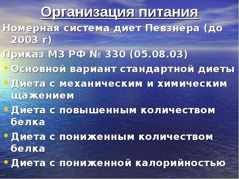 Организация питания Номерная система диет Певзнера (до 2003 г) Приказ МЗ РФ № 330 (05. 08. 03) Основ