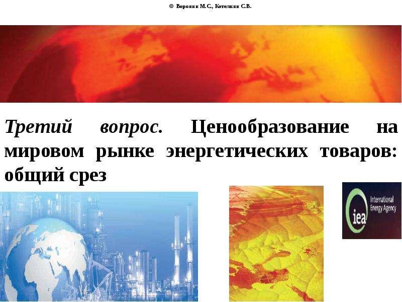 © Воронин М. С. , Котелкин С. В. Третий вопрос. Ценообразование на мировом рынке энергетических това