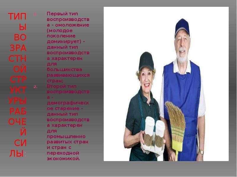 Типы возрастной структуры рабочей силы: Первый тип воспроизводства - омоложение (молодое поколение д