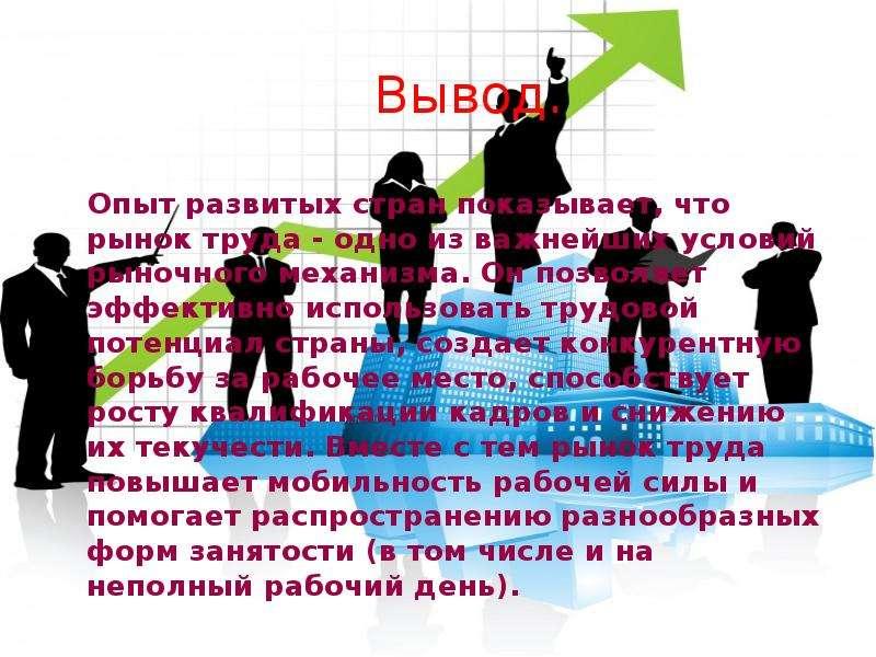 Вывод. Опыт развитых стран показывает, что рынок труда - одно из важнейших условий рыночного механиз