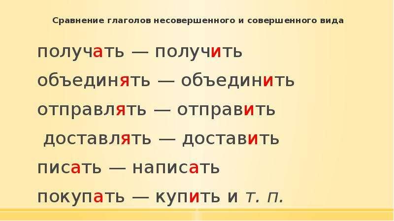 Сравнение глаголов несовершенного и совершенного вида получать — получить объединять — объединить от