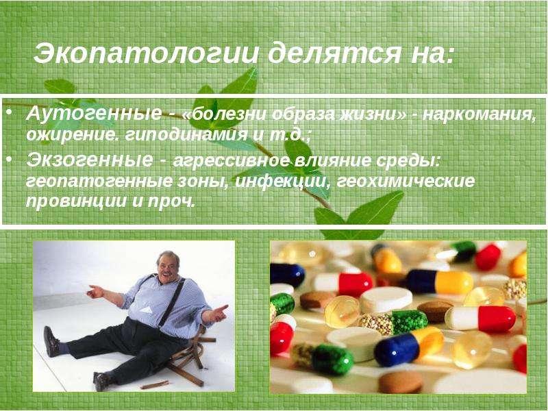 Экопатологии делятся на: Аутогенные - «болезни образа жизни» - наркомания, ожирение. гиподинамия и т