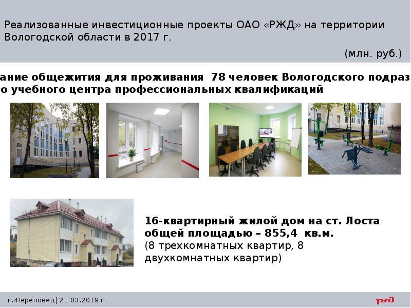 Реализованные инвестиционные проекты ОАО «РЖД» на территории Вологодской области в 2017 г.