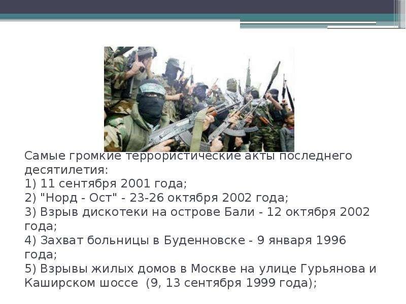 """Самые громкие террористические акты последнего десятилетия: 1) 11 сентября 2001 года; 2) """"Норд"""