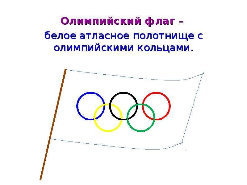 Олимпийский флаг – Олимпийский флаг – белое атласное полотнище с олимпийскими кольцами.