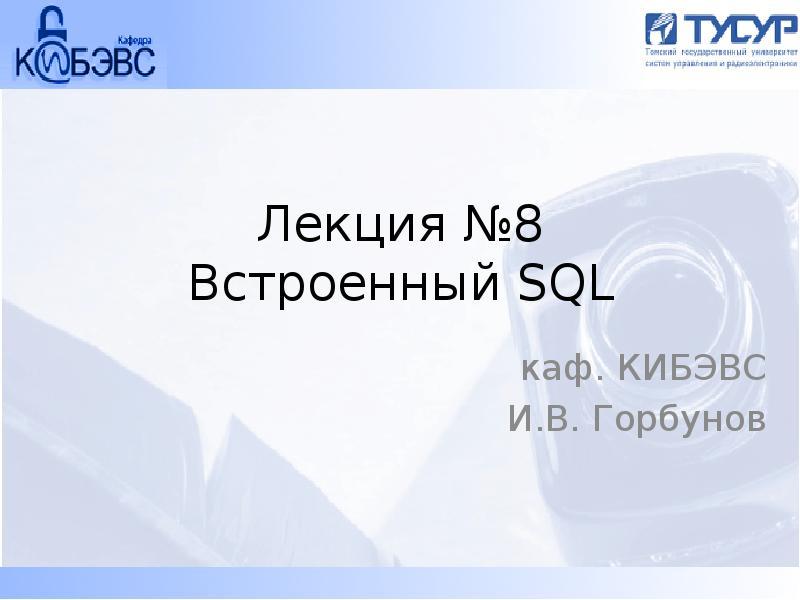 Встроенный SQL. Хранимые процедуры. (Лекция 8)