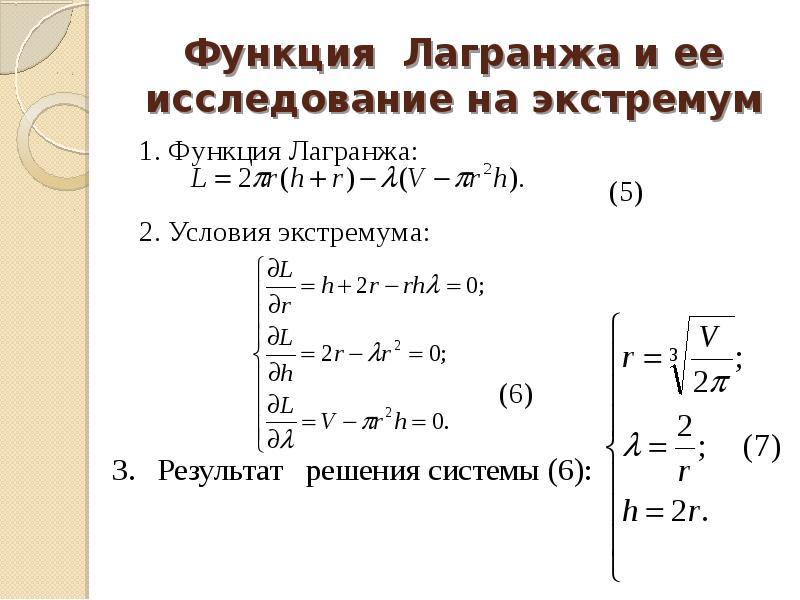 Функция Лагранжа и ее исследование на экстремум 1. Функция Лагранжа: (5) 2. Условия экстремума: (6)