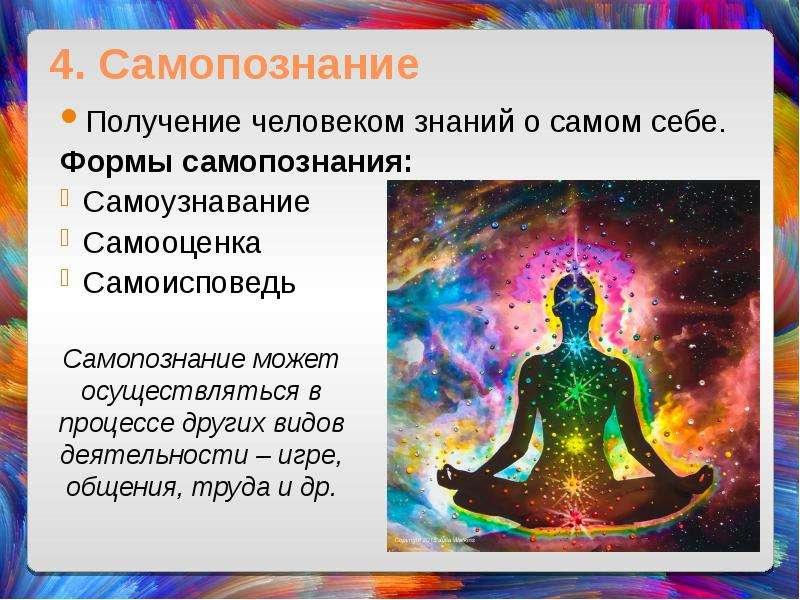 4. Самопознание Получение человеком знаний о самом себе. Формы самопознания: Самоузнавание Самооценк