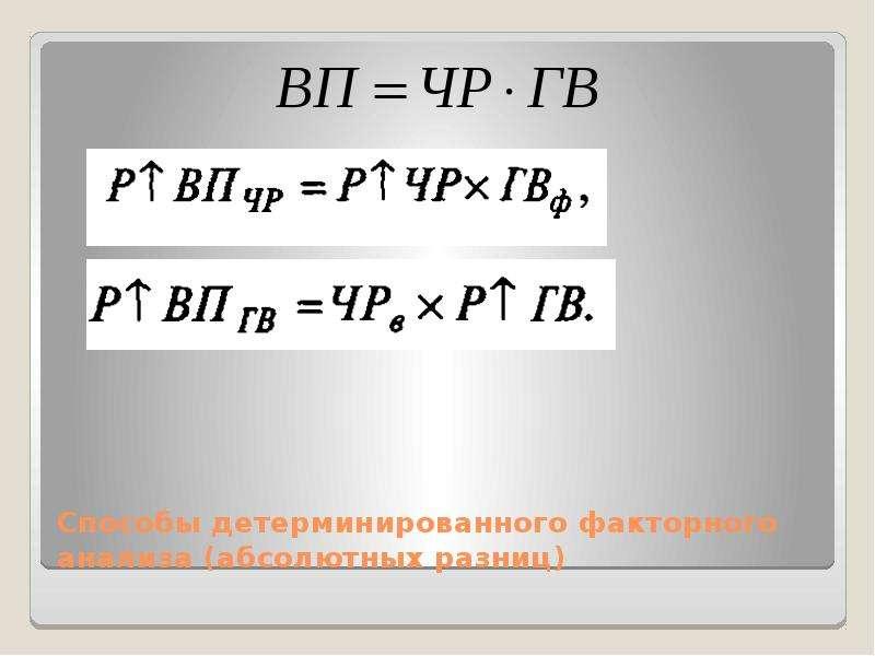 Способы детерминированного факторного анализа (абсолютных разниц)