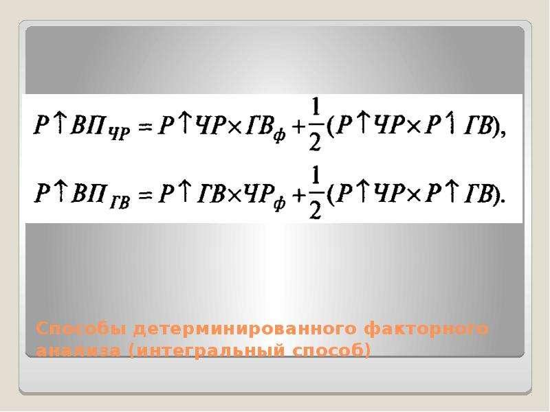 Способы детерминированного факторного анализа (интегральный способ)